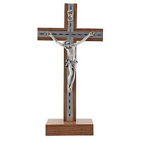 Crucifijo de mesa de madera, metal plateado y aluminio s1
