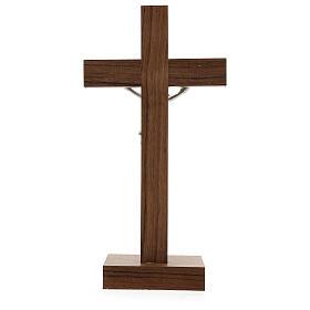 Crucifijo de mesa de madera, metal plateado y aluminio s4