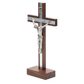 Crocifisso da tavolo in legno, metallo argentato e alluminio s2