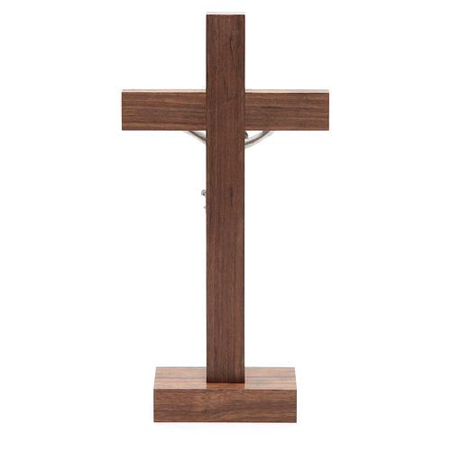 Crocifisso da tavolo in legno, metallo argentato e alluminio 4