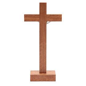 Crocifisso da tavolo legno noce inserto olivo s4