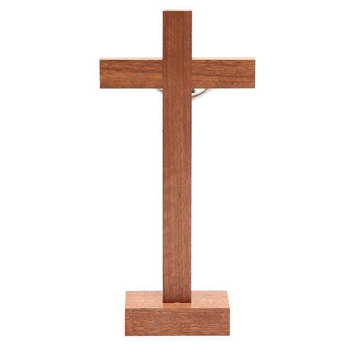 Crocifisso da tavolo legno noce inserto olivo 4