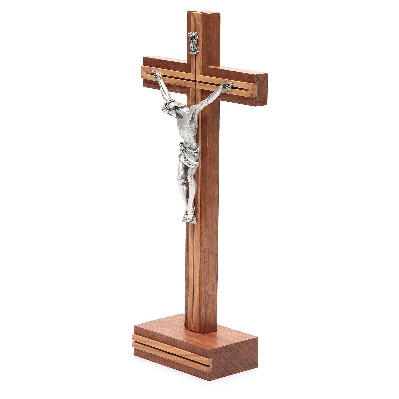 Krucyfiks stojący drewno orzechowe wstawki drewno oliwkowe 4