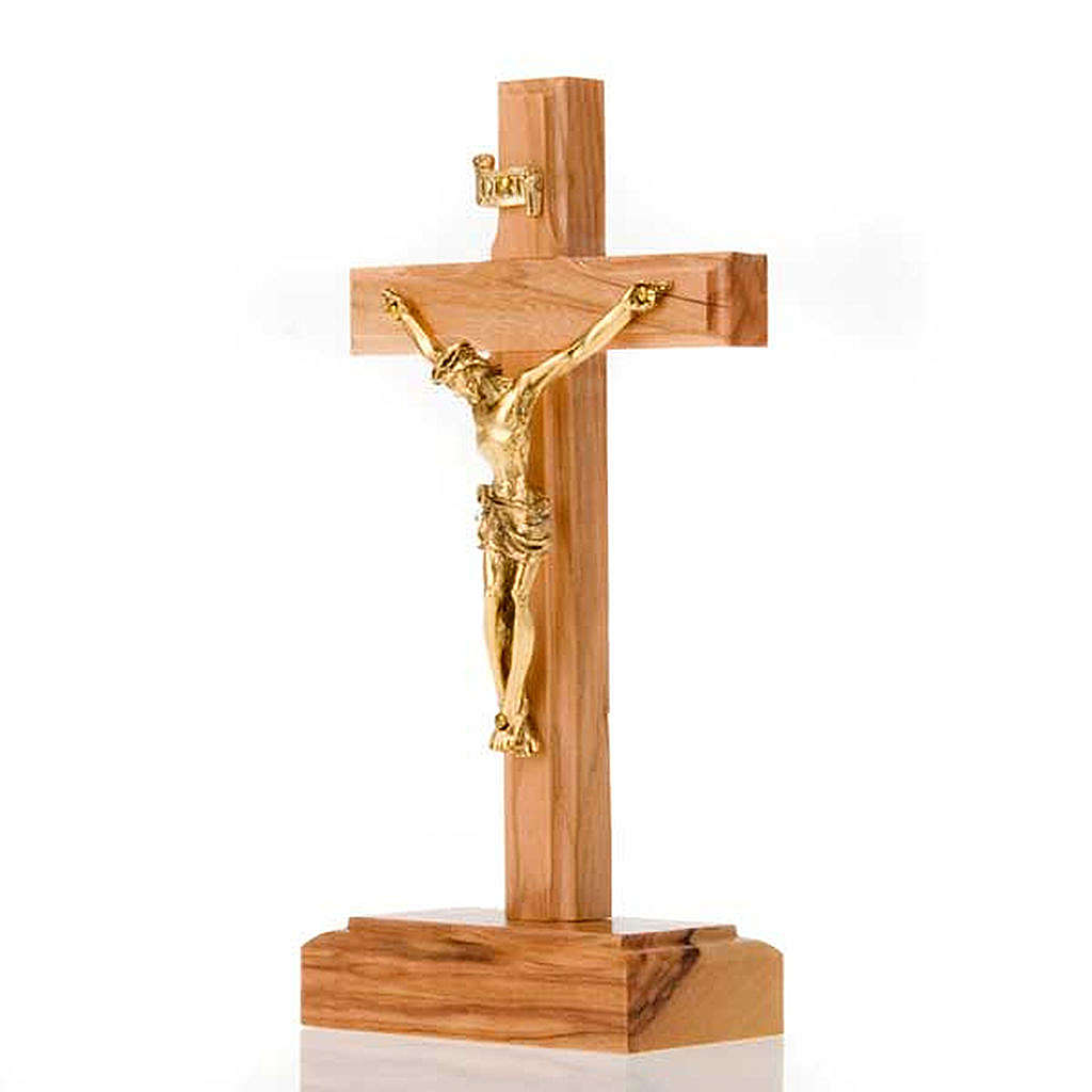 Crucifix in Olive wood and golden metal with base 4
