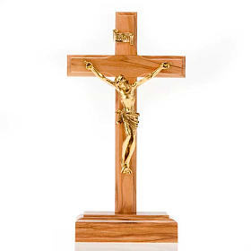 Crucifix in Olive wood and golden metal with base s1