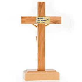 Crucifix in Olive wood and golden metal with base s4