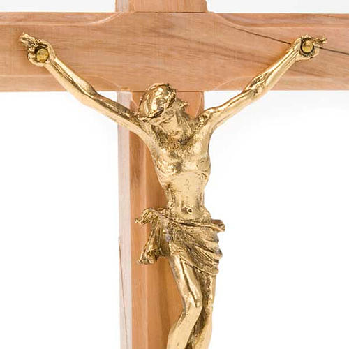 Crucifix in Olive wood and golden metal with base 3