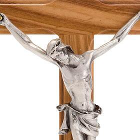 Crucifijo plateado de mesa madera olivo s3