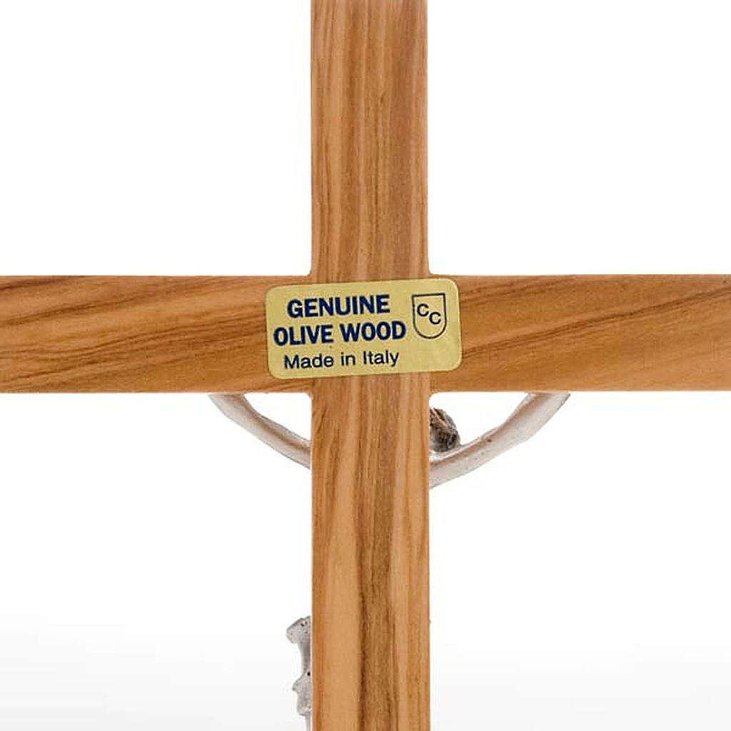 Crocifisso da tavolo dorato legno olivo e metallo argentato 4