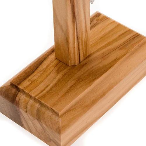 Crocifisso da tavolo dorato legno olivo e metallo argentato 5
