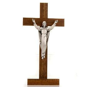 Crucifix de table Christ ressuscité, bois de noix s1