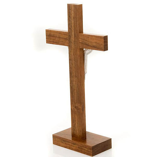 Crucifix de table Christ ressuscité, bois de noix 4