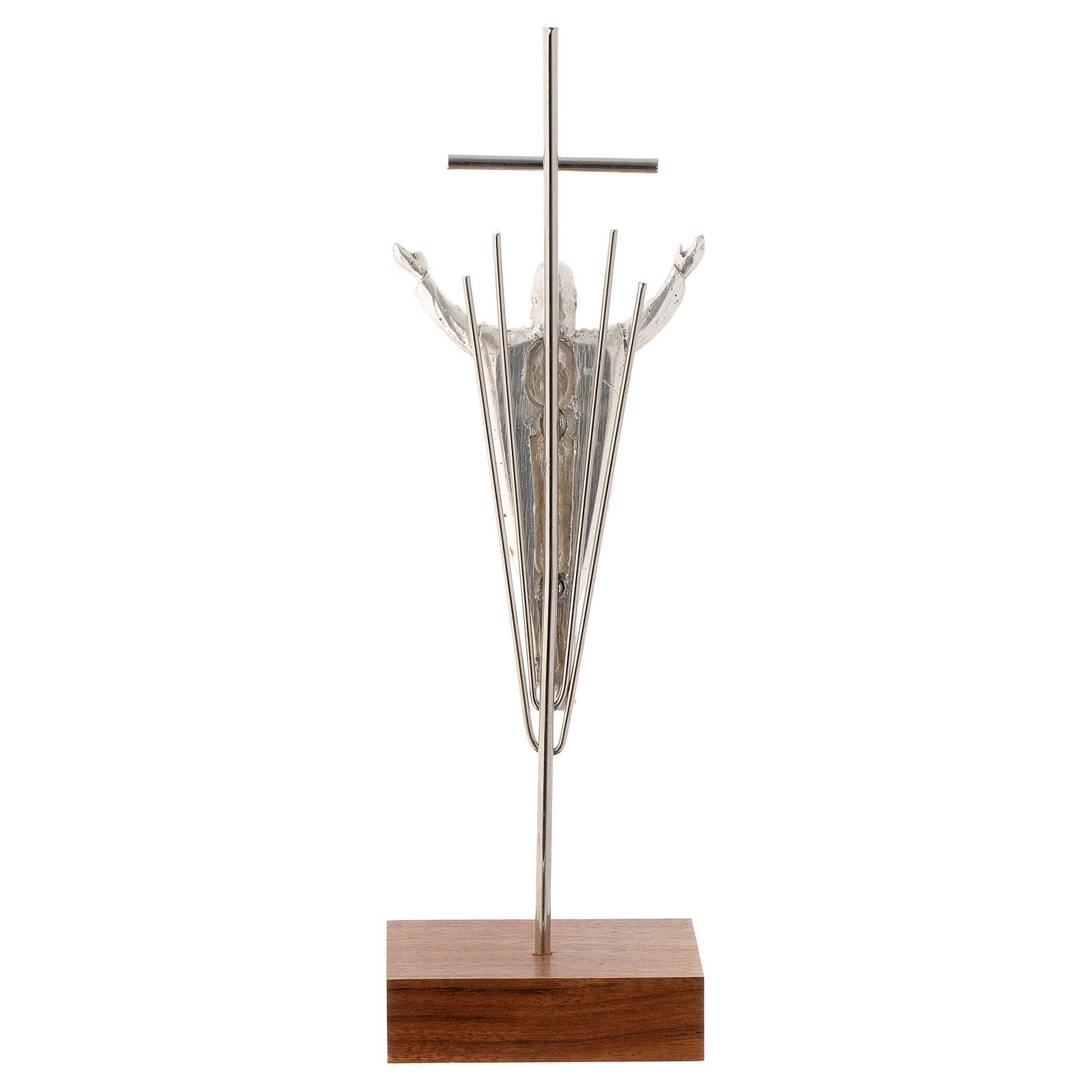 Cristo Resucitado plateado base madera nogal 4
