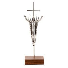 Cristo Resucitado plateado base madera nogal s1