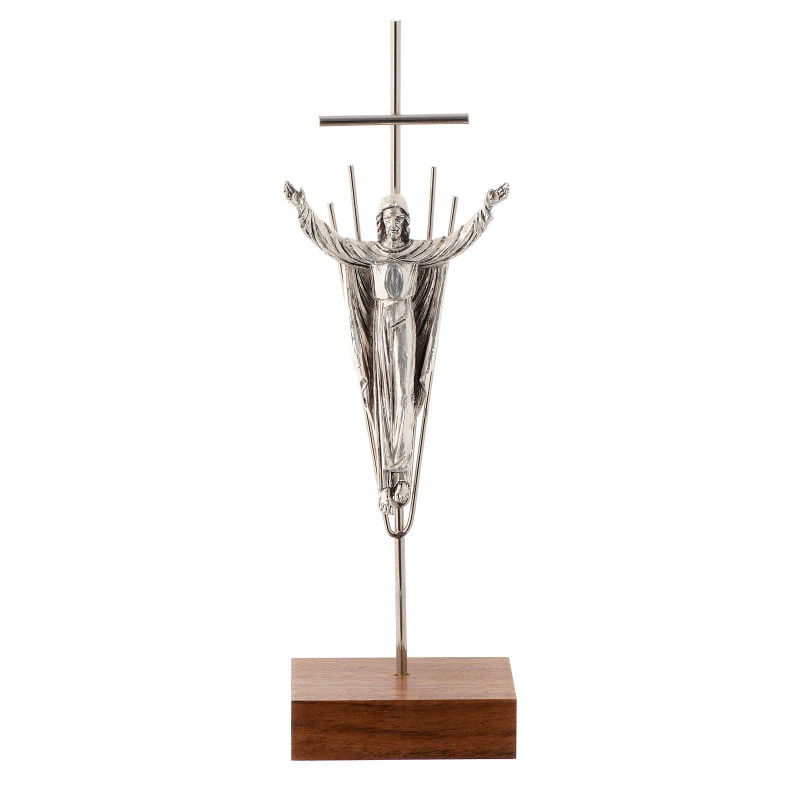 Crucifix Christ ressuscité,  argent, base en bois de noix 4