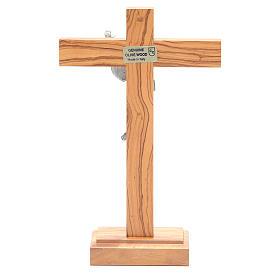 Cristo Resucitado metal crucifijo de mesa olivo s4