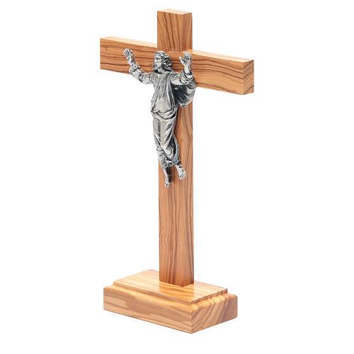 Cristo Resucitado metal crucifijo de mesa olivo 2