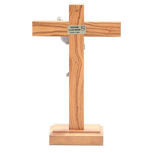 Cristo Resucitado metal crucifijo de mesa olivo 4
