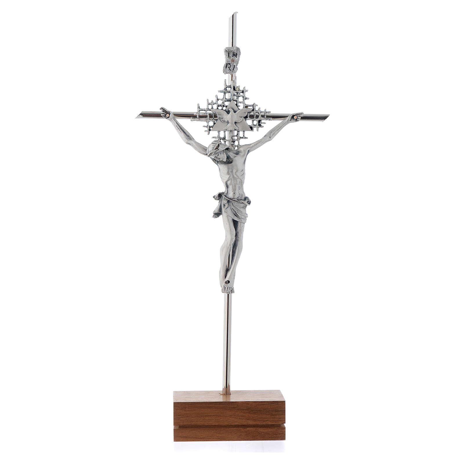 Crocifisso argentato Padre Spirito Santo base noce 4