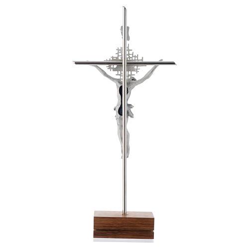 Crocifisso argentato Padre Spirito Santo base noce 3