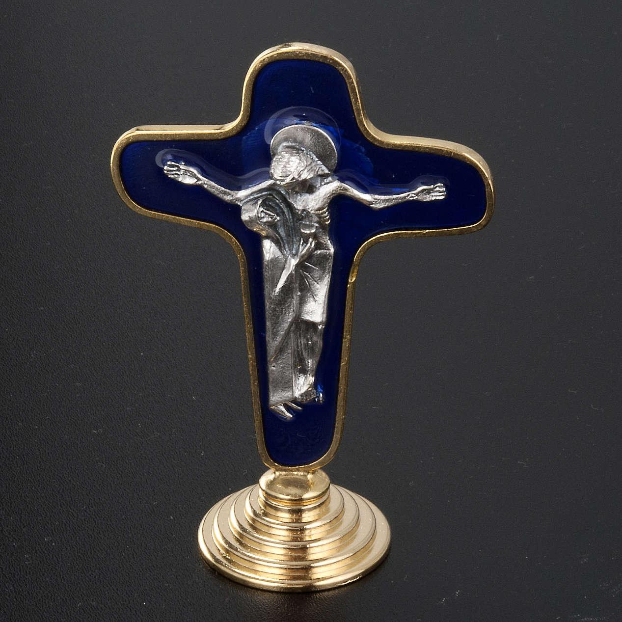 Crocifisso da tavolo metallo dorato blu Maria con calice 4