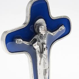 Crocifisso da tavolo metallo argentato blu Maria con calice s2