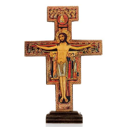 Crucifijo San Damián madera con base 1