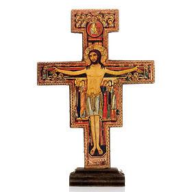 Crucifix à poser: Crucifix de St Damien bois avec base