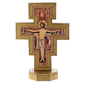 Crucifix of San Damiano wood with golden edge s1