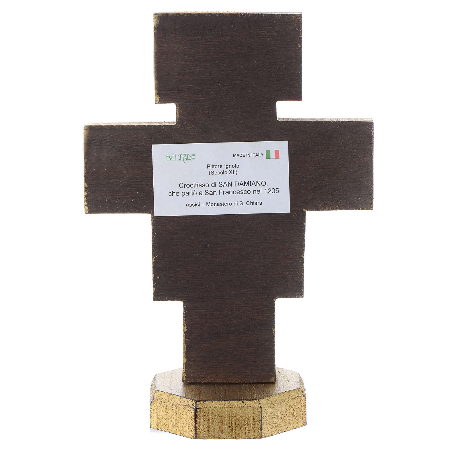 Crucifijo de mesa San Damiano borde dorado 4