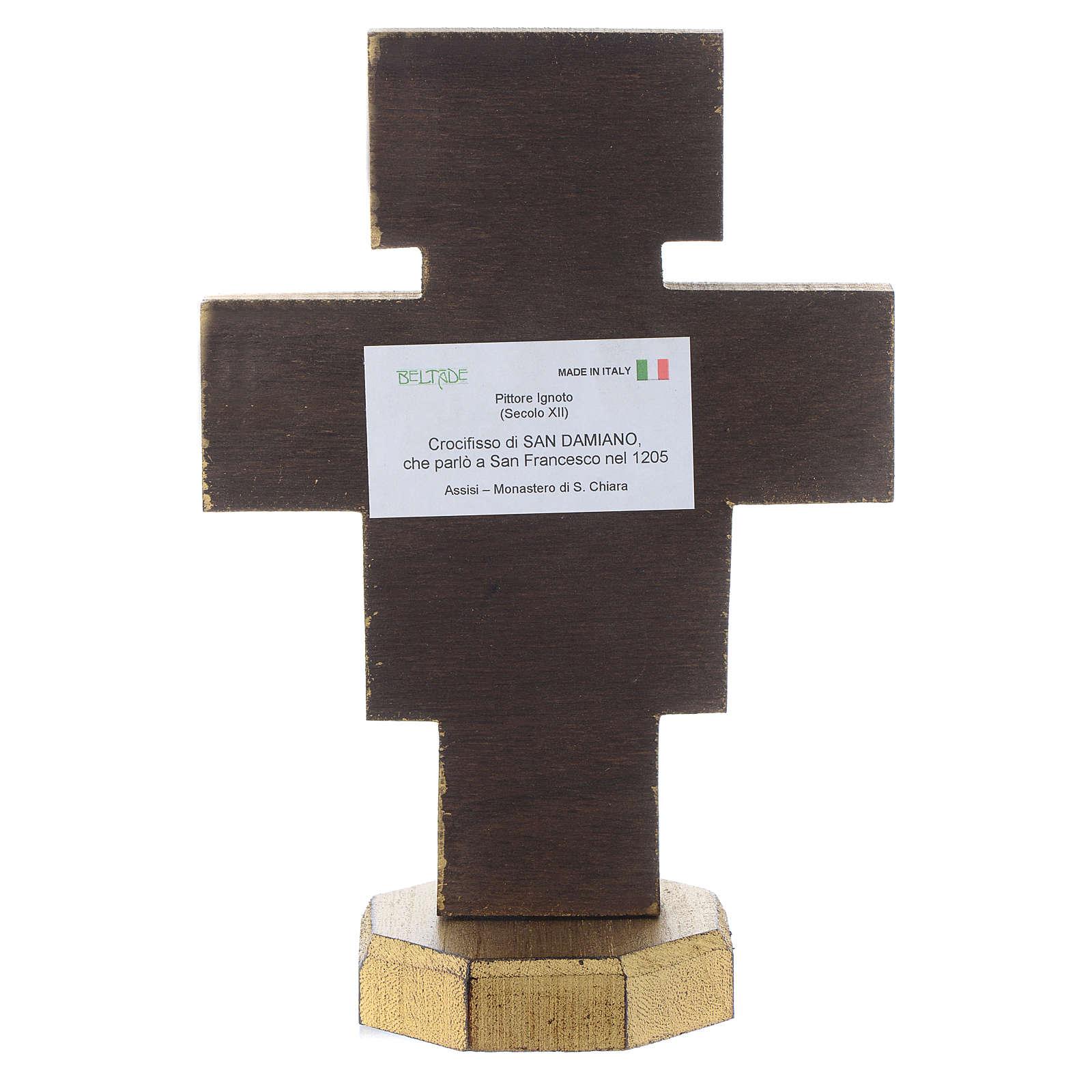 Crocifisso da tavolo San Damiano bordo dorato 4