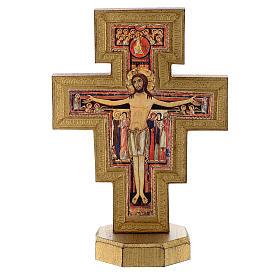 Crocifisso da tavolo San Damiano bordo dorato s1