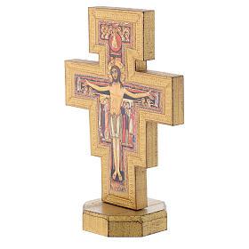 Crocifisso da tavolo San Damiano bordo dorato s2