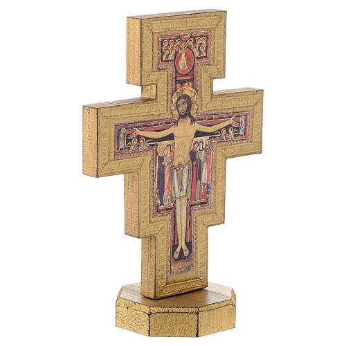 Crocifisso da tavolo San Damiano bordo dorato 3