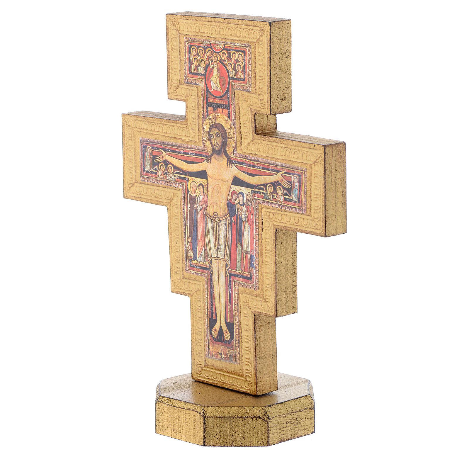 Krucyfiks stojący Św. Damian pozłacany brzeg 4