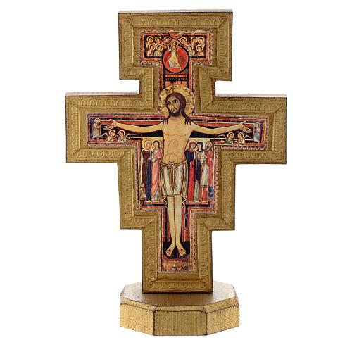 Krucyfiks stojący Św. Damian pozłacany brzeg 1