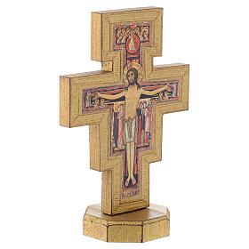 Crucifixo de mesa São Damião borda dourada s3