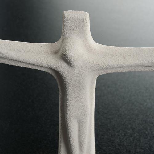 Crucifix pour table argile blanche cm 11 4
