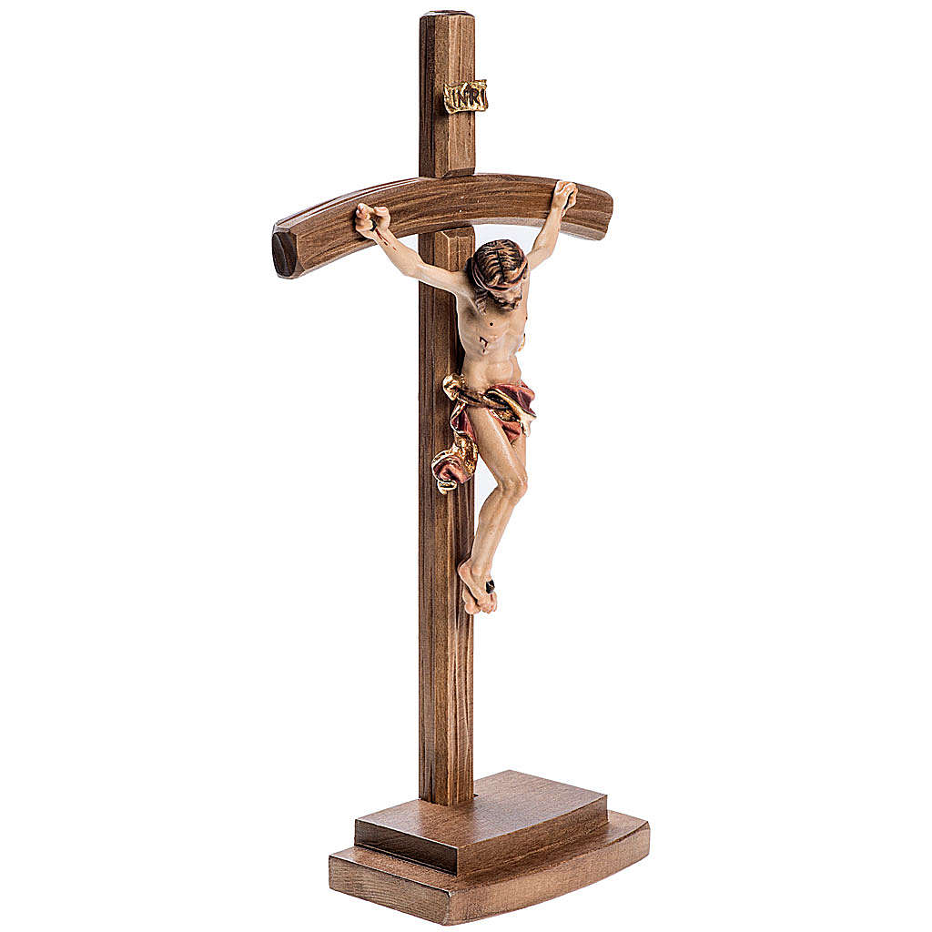 Crucifixo de mesa madeira Val Gardena cruz curva 4
