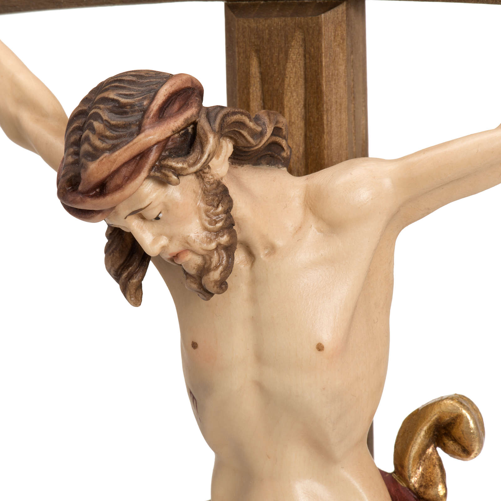 Crucifix in wood with base and curbed cross 4