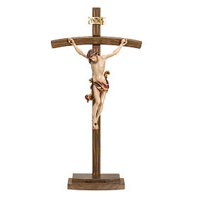 Crucifix in wood with base and curbed cross s1