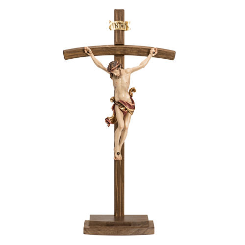 Crucifix in wood with base and curbed cross 1