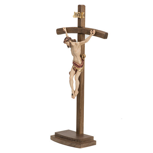 Crucifix in wood with base and curbed cross 10