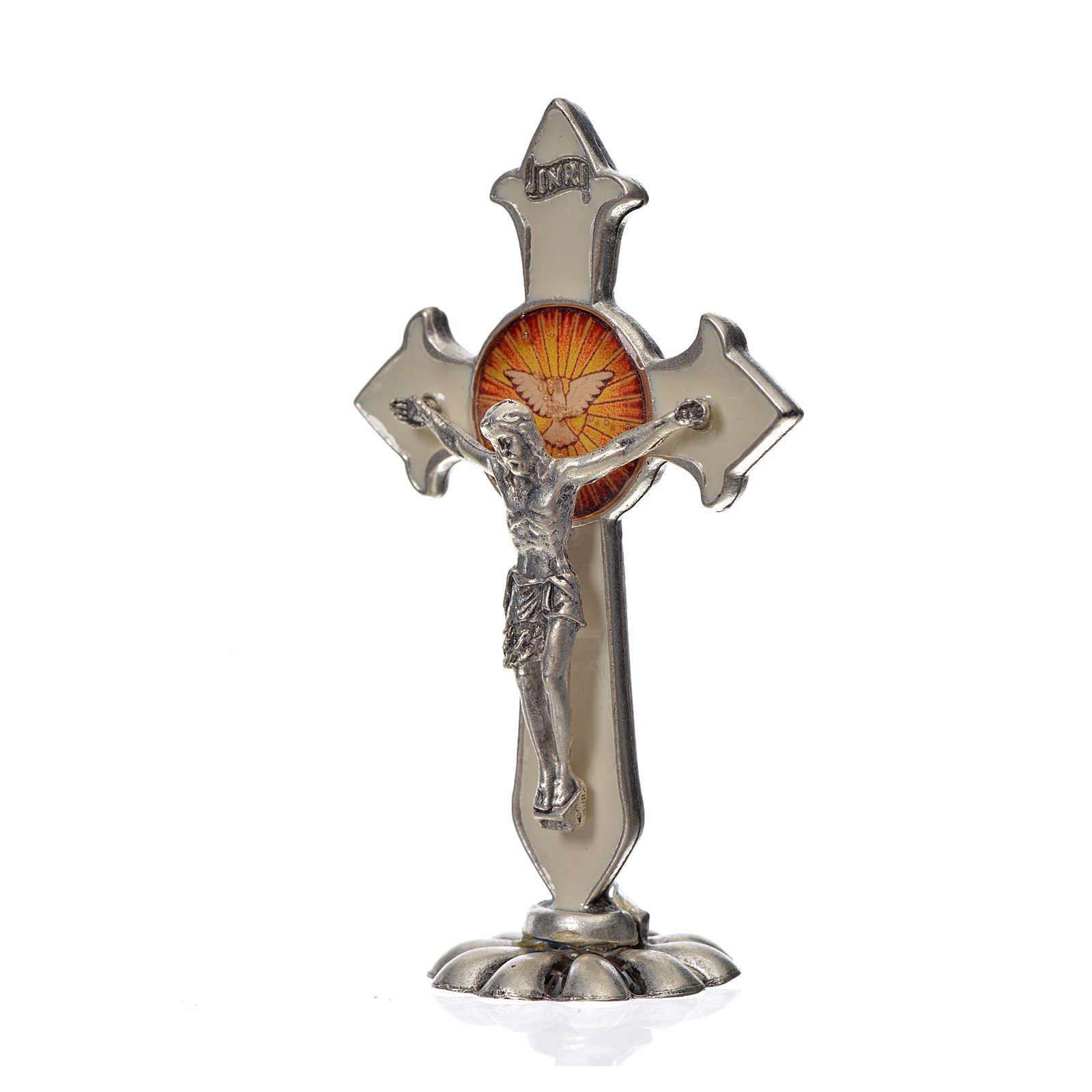 Croix Saint Esprit pointes à poser 7x4,5 cm zamac émail blanc 4