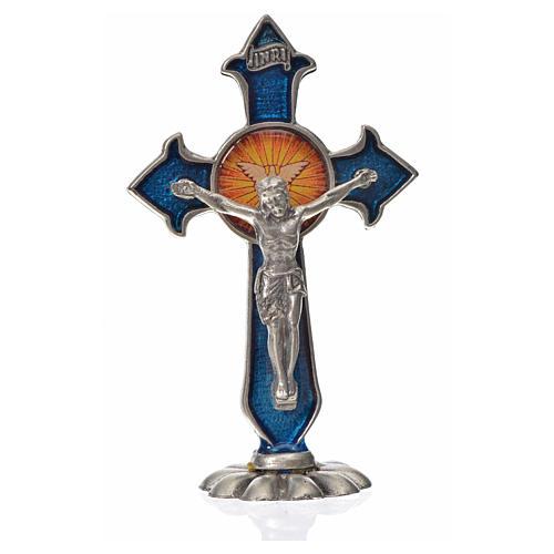Croce Spirito Santo punte da tavolo 7X4,5 cm zama smalto blu 3