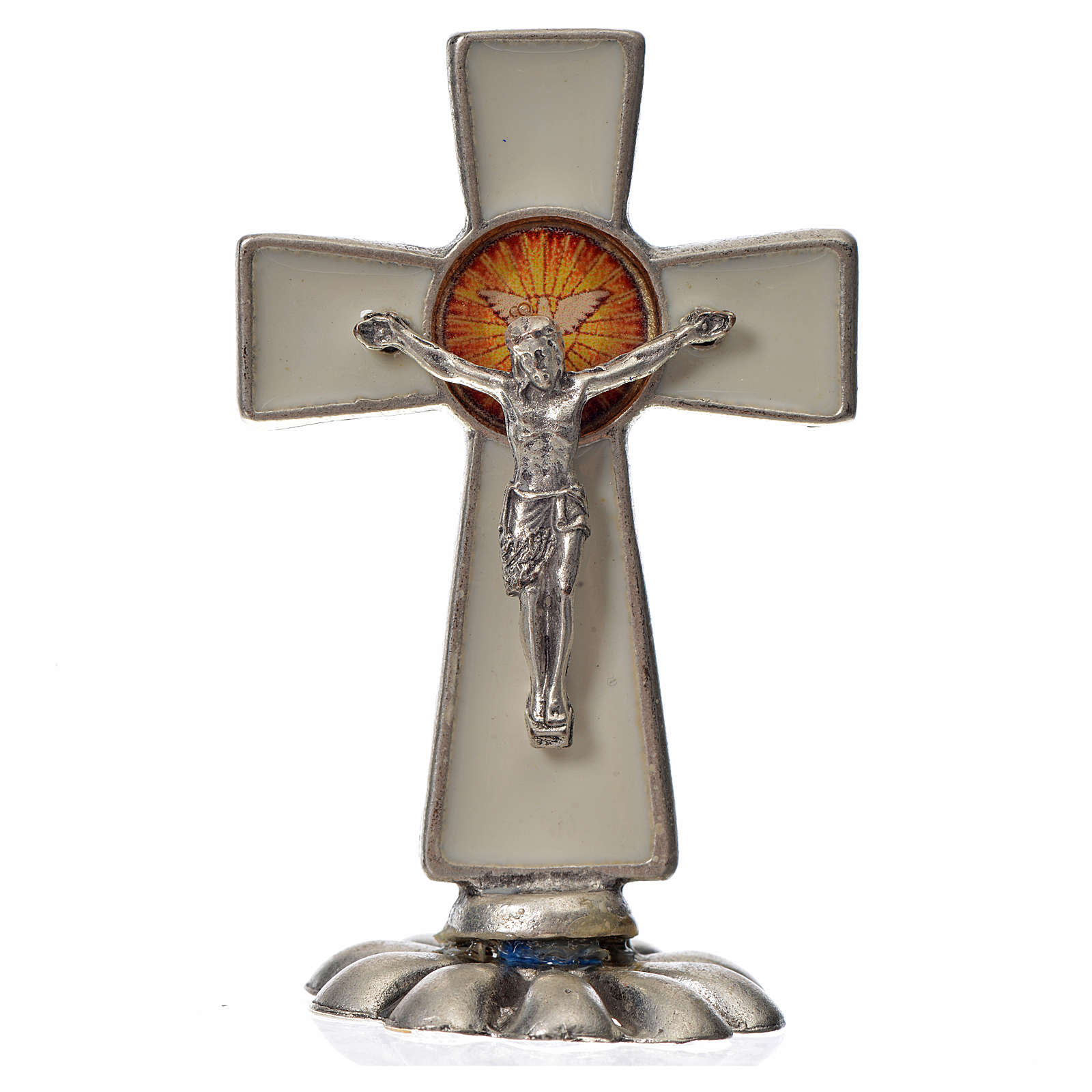 Holy Spirit cross, in zamak and white enamel 5.2x3.5cm 4