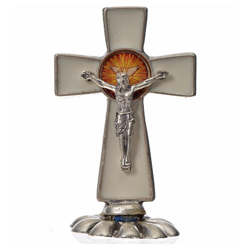 Holy Spirit cross, in zamak and white enamel 5.2x3.5cm 3