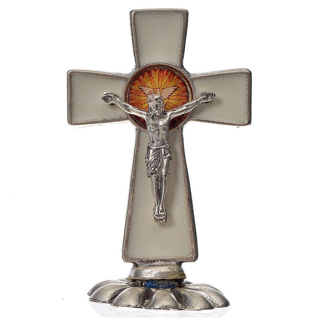 Croix Saint Esprit à poser 5,2x3,5 cm zamac émaillé blanc 4