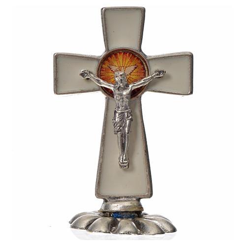 Croix Saint Esprit à poser 5,2x3,5 cm zamac émaillé blanc 3