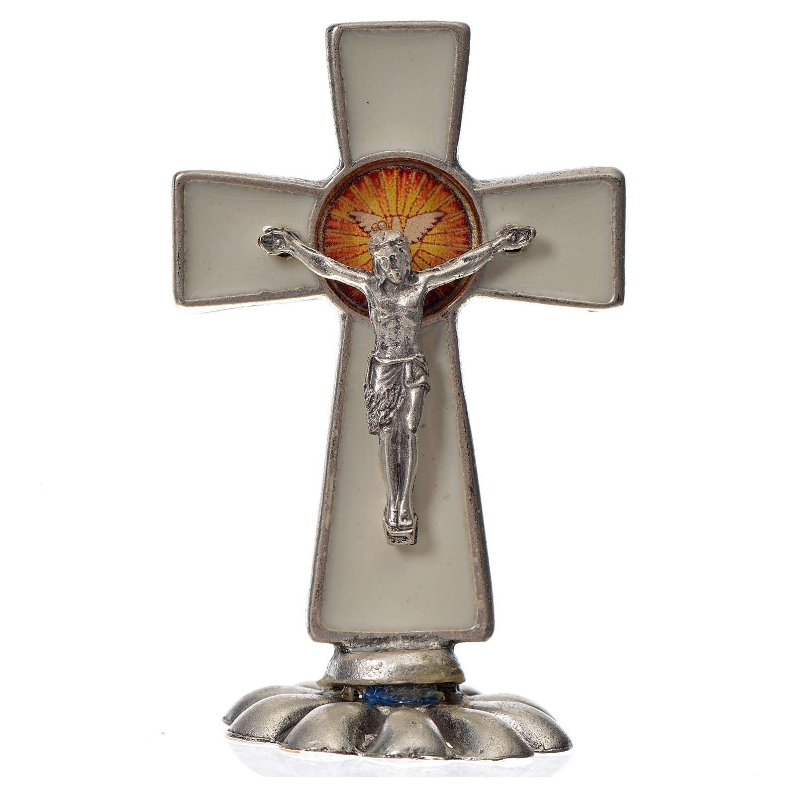 Croce Spirito Santo da tavolo smalto bianco zama 5,2x3,5 cm 4